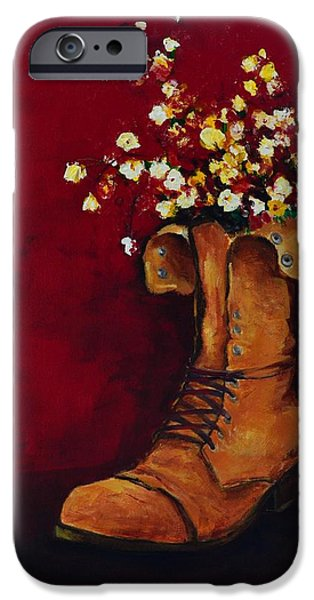 Cargo Boot Series Unusual Flower Pot iPhone Case by Patricia Awapara
