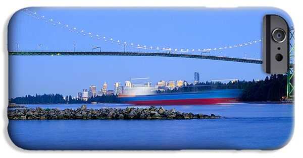 Burrard Inlet iPhone Cases - Cargo Ship Leaves Port iPhone Case by Terry Elniski