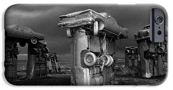 Nebraska iPhone Cases - Carhenge 5 iPhone Case by Bob Christopher