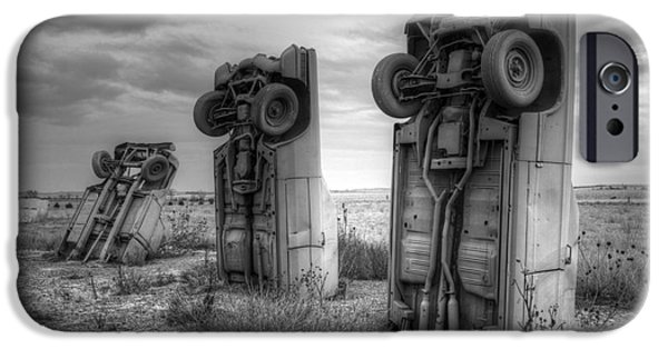 Nebraska iPhone Cases - Carhenge Automobile Art 3 iPhone Case by Bob Christopher