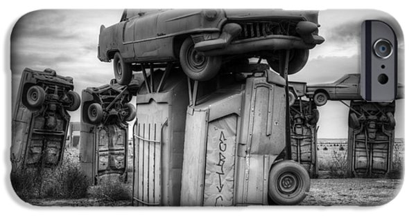 Nebraska iPhone Cases - Carhenge Automobile Art 4 iPhone Case by Bob Christopher