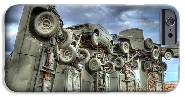 Nebraska iPhone Cases - Carhenge Automobile Art iPhone Case by Bob Christopher