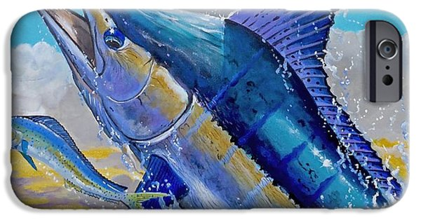 Vikings Paintings iPhone Cases - Carib Blue iPhone Case by Carey Chen
