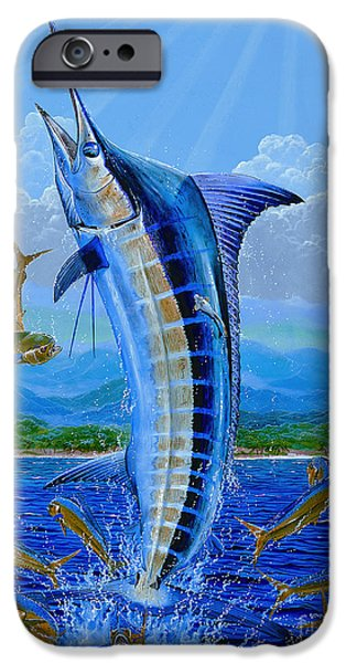 Vikings Paintings iPhone Cases - Caribbean blue Off0041 iPhone Case by Carey Chen