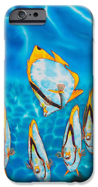 Home Tapestries - Textiles iPhone Cases - Caribbean Butterfly Fish iPhone Case by Daniel Jean-Baptiste