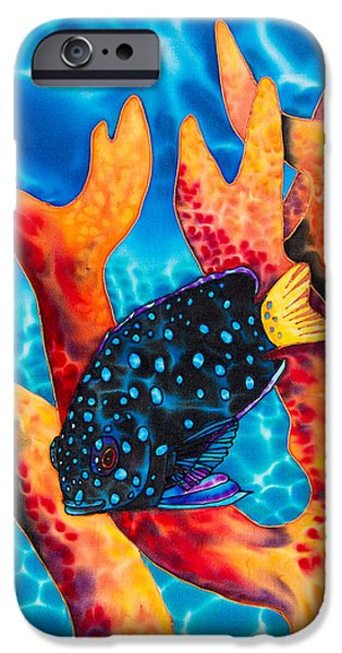 Home Tapestries - Textiles iPhone Cases - Caribbean Damselfish iPhone Case by Daniel Jean-Baptiste