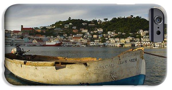 Nation iPhone Cases - Caribbean, Grenada, Carenage Harbor St iPhone Case by Chris Parker