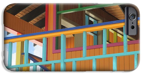 Cabin Window iPhone Cases - Caribbean Railings iPhone Case by Randall Weidner