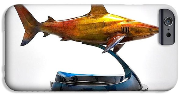 Shark Sculptures iPhone Cases - Caribbean Reef Shark iPhone Case by Victor Douieb
