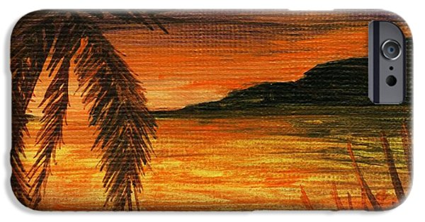 Ocean Sunset Drawings iPhone Cases - Caribbean Sunset iPhone Case by Anastasiya Malakhova