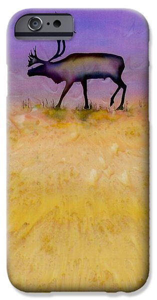 Wild Animals Tapestries - Textiles iPhone Cases - Caribou on the Tundra 2 iPhone Case by Carolyn Doe