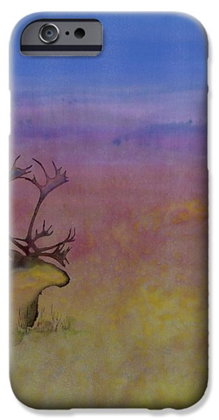 Caribou on the Tundra iPhone Case by Carolyn Doe