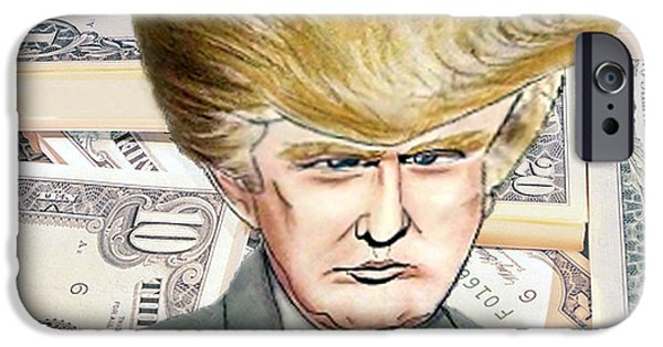 President iPhone Cases - Caricature of Donald Trump iPhone Case by Jim Fitzpatrick