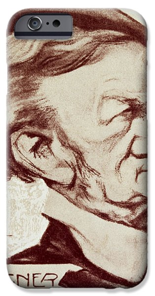 Caricature Drawings iPhone Cases - Caricature of Richard Wagner iPhone Case by Anonymous