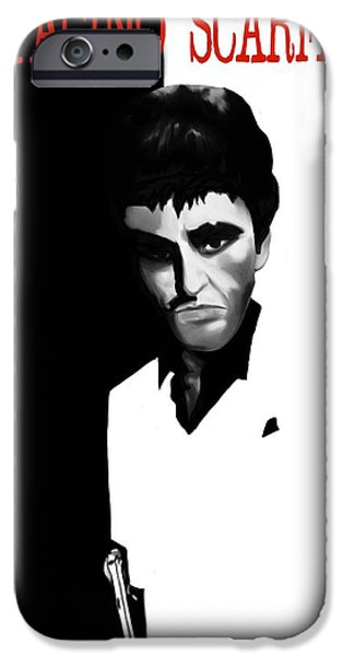 Al Pacino iPhone Cases - Caricature of Scarface iPhone Case by Nathan Craig Cruz