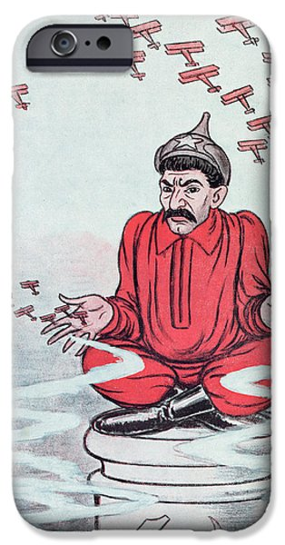 Caricature Drawings iPhone Cases - Caricature of Stalin iPhone Case by Adrien Barrere