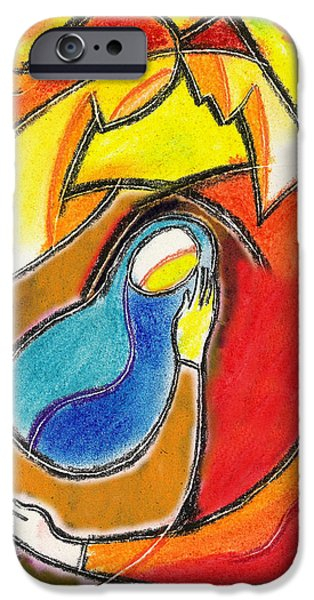 Bonding Paintings iPhone Cases - Caring iPhone Case by Leon Zernitsky