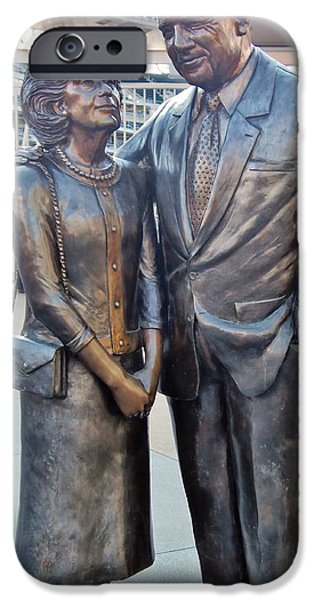 Mounds Mixed Media iPhone Cases - Carl and Eloise Pohlad statue at Target Field iPhone Case by Todd and candice Dailey