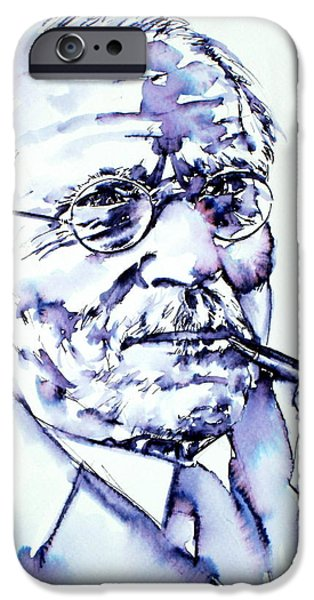 Carl Gustav Jung iPhone Cases - CARL GUSTAV JUNG - portrait iPhone Case by Fabrizio Cassetta