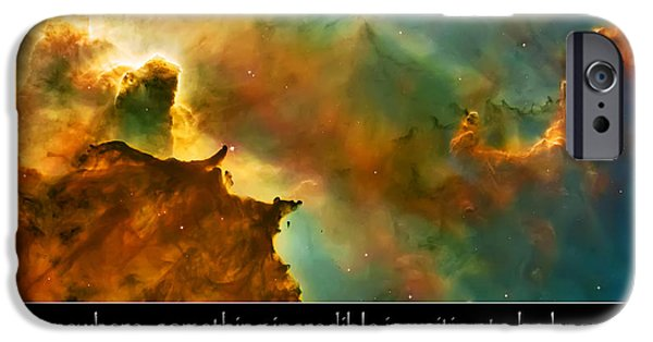 Hubble Telescope Images iPhone Cases - Carl Sagan Quote and Carina Nebula 3 iPhone Case by The  Vault - Jennifer Rondinelli Reilly