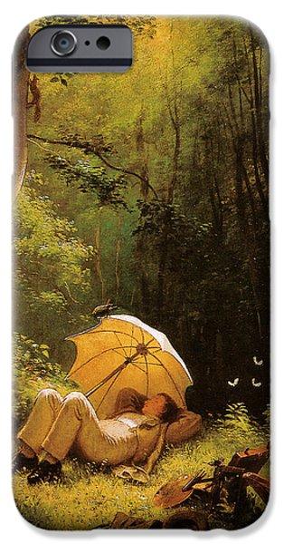 Hofner iPhone Cases - Carl Spitzweg Der Maler auf einer Waldlichtung unter einem Schirm liegend iPhone Case by Carl Spitzweg