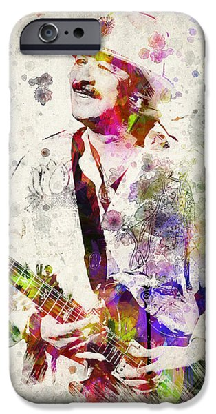 Melody Digital Art iPhone Cases - Carlos Santana iPhone Case by Aged Pixel
