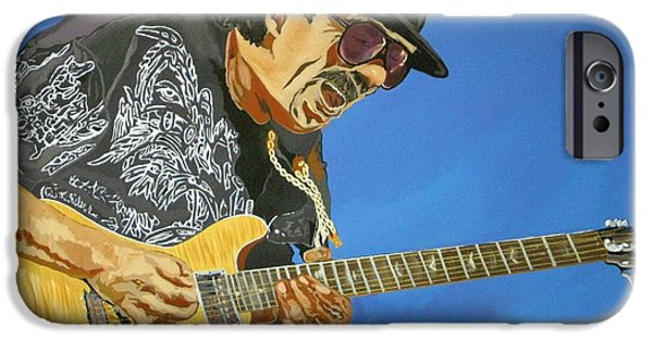 Etc. Paintings iPhone Cases - Carlos Santana-Magical Musica iPhone Case by Bill Manson