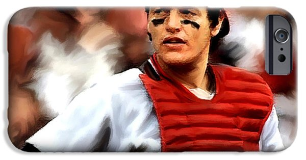 Red Sox Drawings iPhone Cases - Carlton Fisk  Fisk iPhone Case by Iconic Images Art Gallery David Pucciarelli