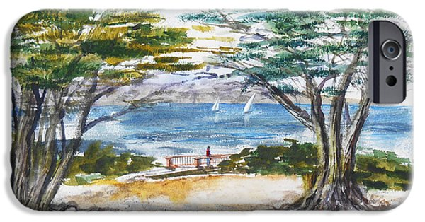 Mood Paintings iPhone Cases - Carmel By The Sea California iPhone Case by Irina Sztukowski
