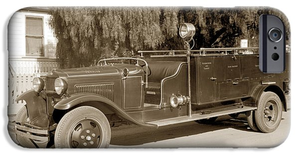 Dep iPhone Cases - Carmel Fire Department engine No. 3  circa 1933 iPhone Case by California Views Mr Pat Hathaway Archives
