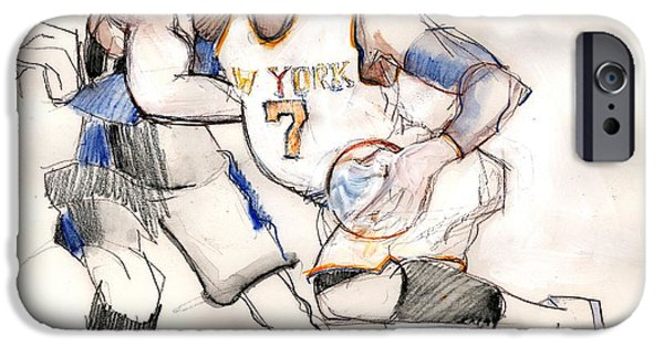 Carmelo Anthony iPhone Cases - Carmelo iPhone Case by Carolyn Weltman