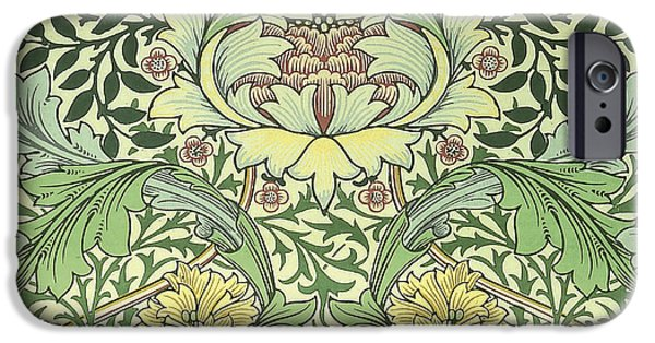 Old Tapestries - Textiles iPhone Cases - Carnations Design iPhone Case by William Morris
