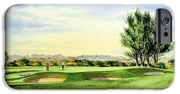 Linked Paintings iPhone Cases - Carnoustie Golf Course 13Th Green iPhone Case by Bill Holkham