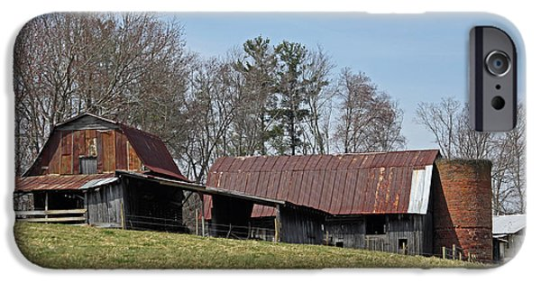 Old Barn Poster Photographs iPhone Cases - Carolina Barns and Silo iPhone Case by Suzanne Gaff