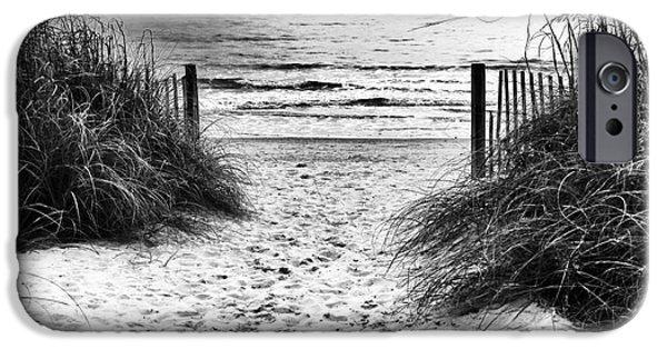 Monotone iPhone Cases - Carolina Beach Entry iPhone Case by John Rizzuto