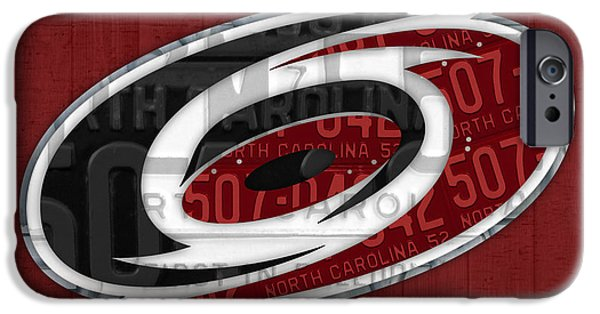 Hockey Mixed Media iPhone Cases - Carolina Hurricanes Hockey Team Retro Logo Vintage Recycled North Carolina License Plate Art iPhone Case by Design Turnpike