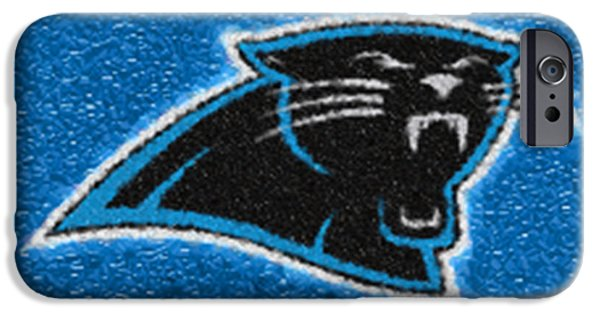 Charlotte Digital Art iPhone Cases - Carolina Panthers Mosaic iPhone Case by Jack Zulli