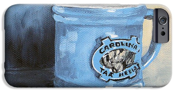 Basketball Sports iPhone Cases - Carolina Tar Heel Coffee Cup iPhone Case by Torrie Smiley