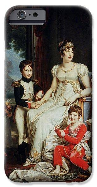 Enfants iPhone Cases - Caroline Bonaparte 1782-1839 And Her Children Oil On Canvas iPhone Case by Francois Pascal Simon, Baron Gerard