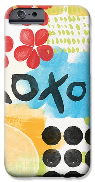 Flower Abstract iPhone Cases - Carousel #4- Contemporary Abstact Art iPhone Case by Linda Woods