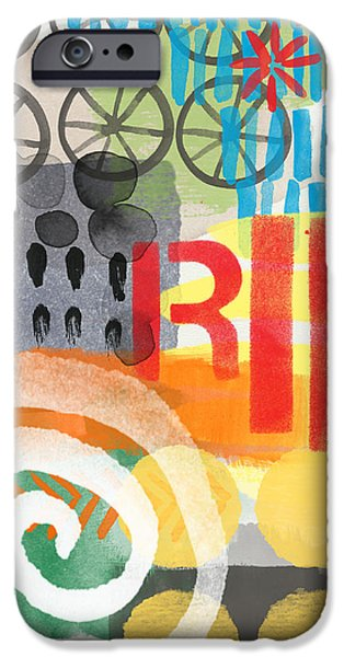 Cycles iPhone Cases - Carousel #6 RIDE- Contemporary Abstract Art iPhone Case by Linda Woods