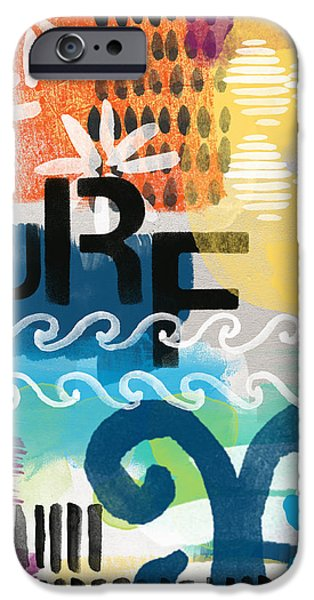 Surfer iPhone Cases - Carousel #7 SURF - contemporary abstract art iPhone Case by Linda Woods