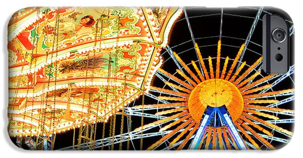 Oktoberfest iPhone Cases - Carousel and Ferries Wheel at Night at the Octoberfest in Munich iPhone Case by Sabine Jacobs