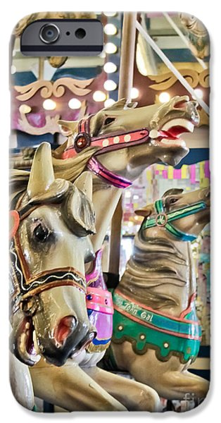 Casino Pier iPhone Cases - Carousel at Casino Pier iPhone Case by Colleen Kammerer