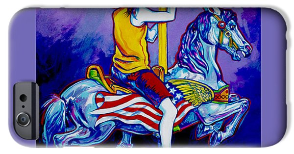Carousel Horse Paintings iPhone Cases - Carousel iPhone Case by Derrick Higgins