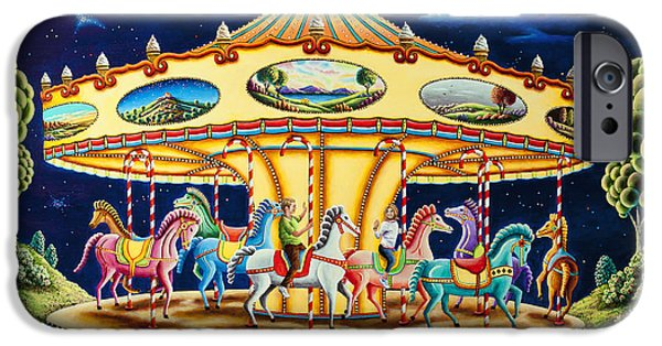 Carousel Horse Paintings iPhone Cases - Carousel Dreams 3 iPhone Case by Andy Russell