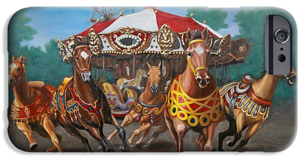 Carousel Horse Paintings iPhone Cases - Carousel Escape at the Park iPhone Case by Jason Marsh