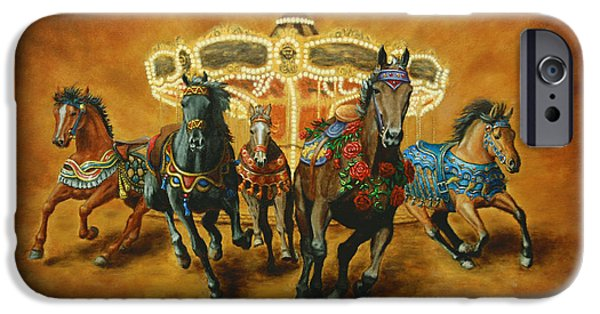 Carousel Horse Paintings iPhone Cases - Carousel Escape iPhone Case by Jason Marsh
