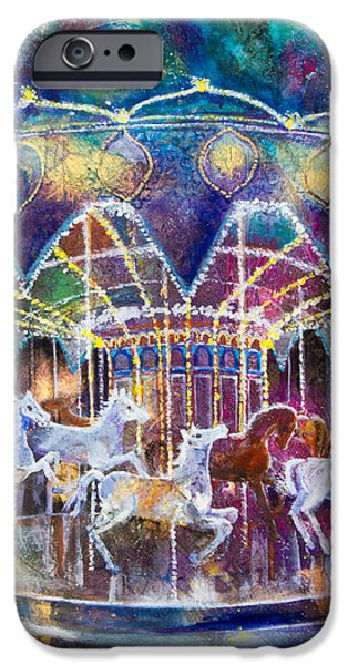 Paiting iPhone Cases - Carousel Galaxy iPhone Case by Patricia Allingham Carlson