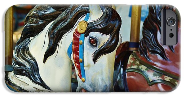 Smithsonian iPhone Cases - Carousel Horse 4 iPhone Case by Jean Goodwin Brooks